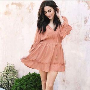 Long Sleeve Rust Colored Mini Dress
